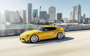 Picture road, yellow, sports car, Toyota Supra, Denmark, 2020 Toyota GR Above