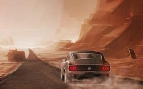 Picture Mustang, Ford, Auto, Road, Figure, Machine, Car, Art, Driver, Illustration, Concept Art, Animation, Amirreza Mirzaei, …