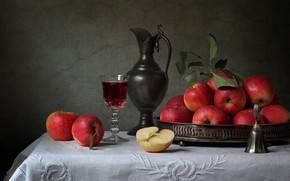 Picture apples, glass, pitcher, bell
