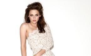 Picture Kristen Stewart, look, actress, white background, bare shoulder