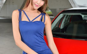 Picture look, Girls, Asian, beautiful girl, Skoda, red car, posing on the car