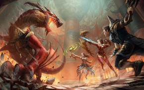 Picture dragon, battle, warriors, Text 2