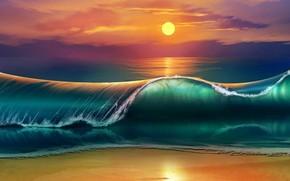 Picture waves, beach, sky, sea, nature, Sun, sunset, art, clouds, digital art, artwork, painting art