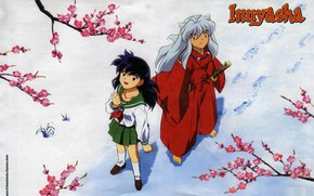 Picture snow, branches, traces, schoolgirl, art, barefoot, looking up, sailor, red suit, Inuyasha, Inuyasha, Rumiko Takahata, …