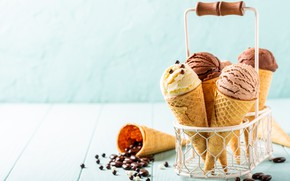 Picture ice cream, basket, chocolate, waffle cone, Iryna Melnyk