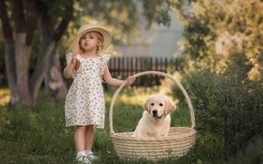 Picture basket, hat, girl, puppy, Retriever