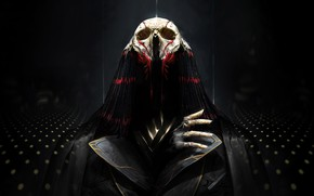 Picture background, skull, hand, mask, fantasy, art, cloak