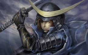 Picture the game, armor, anime, art, samurai, guy, Sengoku Basara, Date Masamune