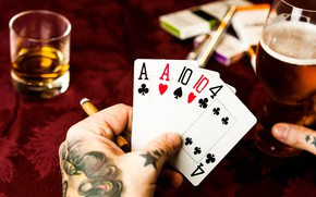Picture card, whiskey, casino
