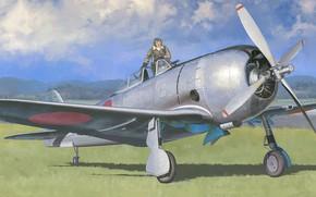 Picture art, airplane, aviation, ww2, ki-44