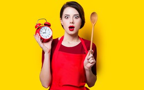 Picture girl, face, pose, yellow, background, watch, surprise, hands, makeup, alarm clock, hairstyle, spoon, brown hair, ...