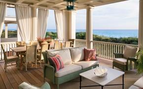 Picture furniture, interior, veranda, dining room, Neoclassical, Residence on the Florida Coast