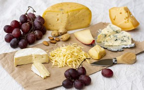 Picture cheese, grapes, nuts, Dor blue, Cheese, prunes, cheese, Dorblu, noble cheese