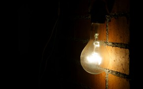 Picture light bulb, light, wire, brick wall