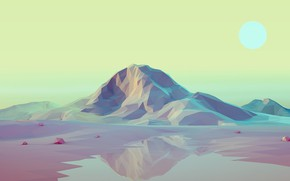 Picture The sun, Mountains, Hills, Graphics, Low Poly