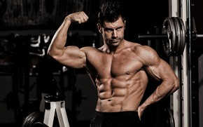 Picture pose, sport, athlete, male, torso, rod, bodybuilding, muscles, press, the gym, athlete, biceps, simulators