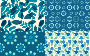 Picture flowers, blue, pattern, texture, leaves, patterns, floral