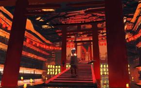 Picture river, Japan, lights, ladder, girl, crows, torii gate