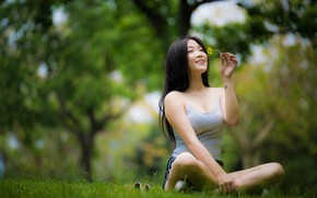 Picture girl, smile, Asian, cutie, bokeh, flower