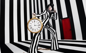 Picture girl, time, model, watch