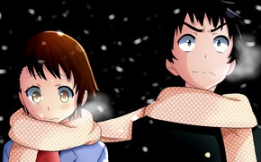 Picture girl, night, romance, anime, scarf, art, guy, two, Nisekoi, Feigned love
