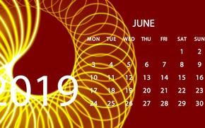 Picture calendar, June, 2019