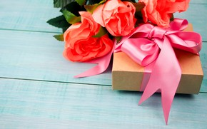 Picture birthday, gift, roses, bouquet