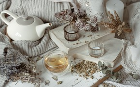 Picture flowers, style, tea, candles, kettle, plaid