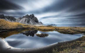 Wallpaper sea, shore, Vestrahorn Islande