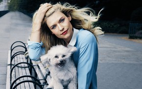 Picture look, pose, dog, makeup, actress, Claire Danes, Claire Danes