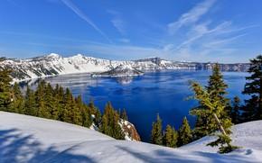 Picture winter, snow, trees, mountains, lake, Oregon, Oregon, Crater Lake, Crater Lake National Park, Crater Lake
