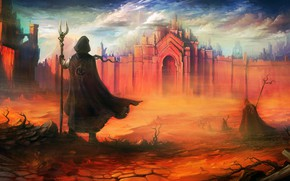 Picture city, fantasy, walls, people, castle, artwork, fantasy art, staff, hood, Desert, cape, sand storm, fantasy …