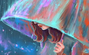 Picture rain, red hair, rain, red hair, bright makeup, bright makeup, девушка под зонтом, girl under …