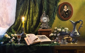 Picture flowers, table, pen, glass, portrait, roses, candle, window, book, pitcher, curtain, Pushkin, Valentina Fencing