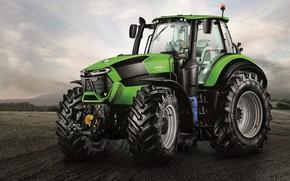 Picture field, the sky, background, tractor, cabin, wheel, big wheels, agricultural machinery, Deutz-Fahr, Deutz-Fahr 9340
