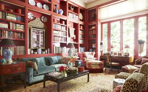 Picture interior, library, living room, Texas home