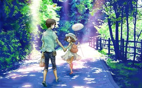 Picture summer, joy, children, the fence, jeans, the net, hat, walk, backpack, vacation, sunlight, a stone …