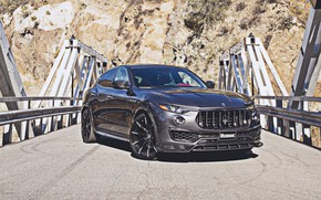 Picture road, machine, mountains, tuning, Maserati, carbon, black, front, tuning, wheel, Maserati Levante, aggressive, black car, …