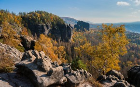 Picture autumn, forest, trees, mountains, stones, Germany, Germany, Saxony