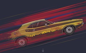 Picture Auto, Retro, Machine, Speed, 1971, Dodge, Challenger, Car, Car, Art, Muscle car, Transport & Vehicles, …