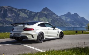 Picture mountains, Mercedes-Benz, rear view, AMG, Coupe, G63, Widebody, Prior-Design, C-Class, 2017, C205, PD65CC