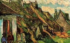 Picture Vincent van Gogh, Cottages, in Chaponval, Thatched Sandstone