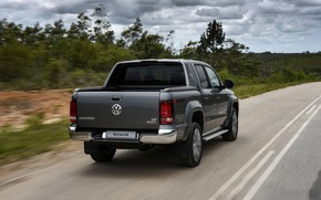 Picture markup, speed, Volkswagen, back, pickup, Amarok, on the road, 2020