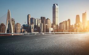 Picture city, China, sky, bridge, street, sunlight, building, cityscape, Chongqing, skycrapers