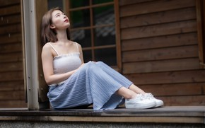 Picture girl, Asian, sitting