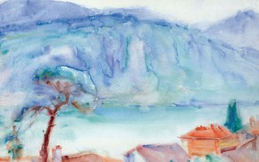 Picture landscape, lake, watercolor, ORT, John Peter Russell, John Peter Russell
