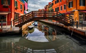 Picture the city, home, boats, Italy, Venice, channel, the bridge, Burano, Александр Безмолитвенный
