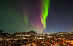 Picture photo, Nature, Night, Norway, Hills, Polar lights