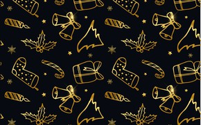 Picture decoration, background, gold, black, New Year, Christmas, golden, black, Christmas, background, New Year, decoration, xmas, …