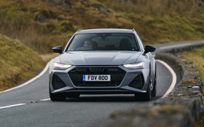Picture road, grass, Audi, front, universal, RS 6, 2020, 2019, V8 Twin-Turbo, RS6 Avant, UK-version